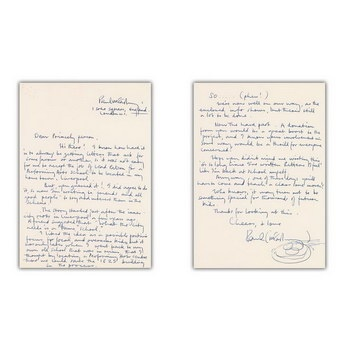 Письмо Пола Маккартни, обращенное Принсу, ушло с молотка
