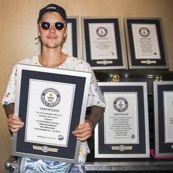 Джастин Бибер установил рекордное количество рекордов Гиннесса